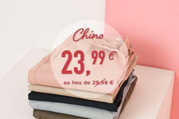 Le chino à 23,99€  Grain de Malice, vêtement pour femme