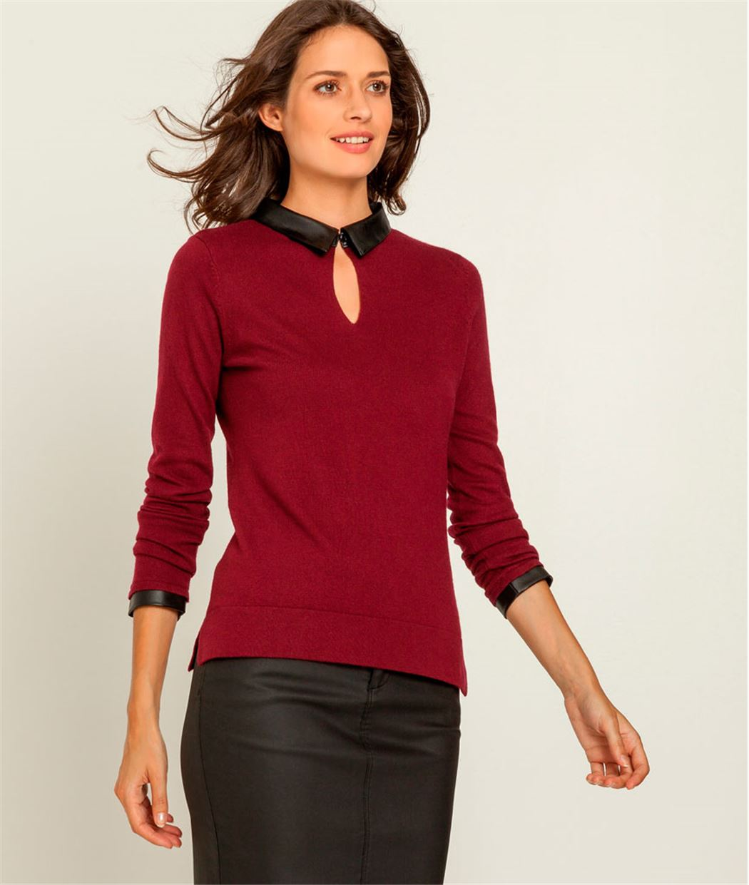 Pull femme col claudine ROUGE CRAMOISI