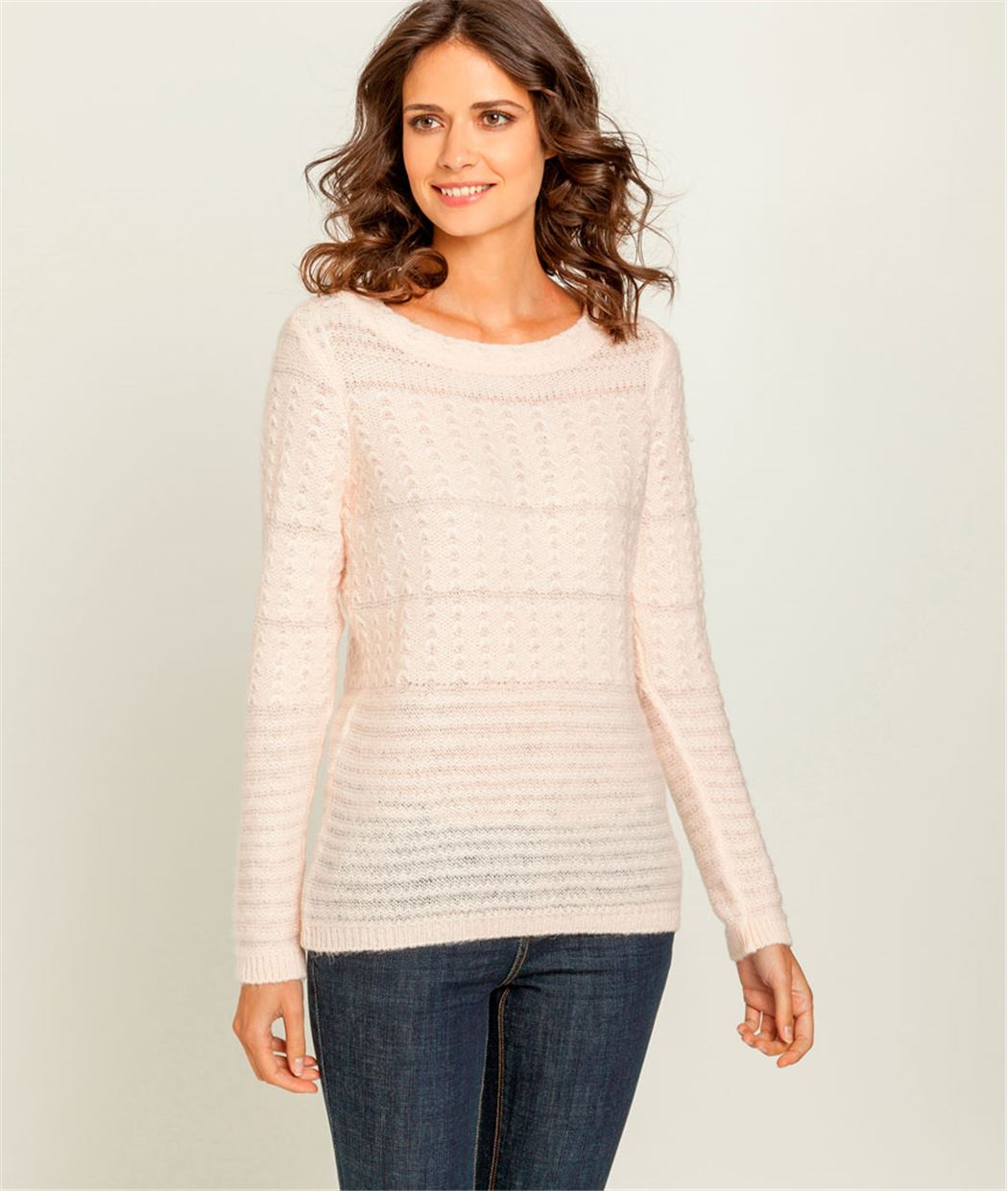 Pull femme fin maille fantaisie ROSE