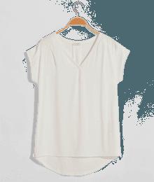 T-shirt femme bimatière texturé Beige-Ecru