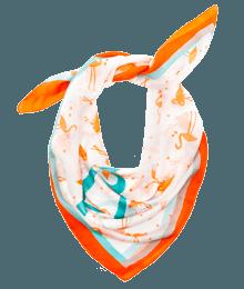 Foulard femme soie imprimée Rouge-Orange