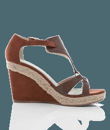 Chaussures femme sandale compensée Marron