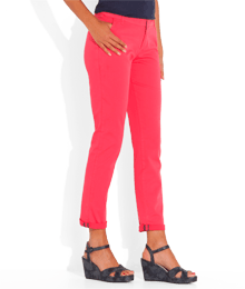 Pantalon femme chino 7/8eme Rose-Violet