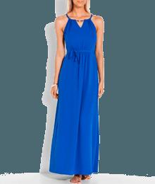 Robe longue col bijou Bleu