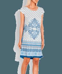 Robe imprimée bimatière Bleu