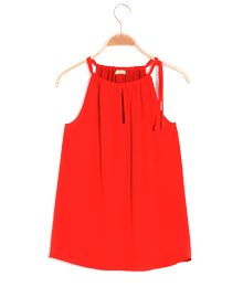 T-shirt femme à nouer uni Rouge-Orange
