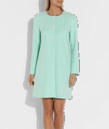 Manteau femme sans col boutons Vert-Kaki