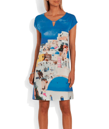 Robe housse imprimé paysage Bleu