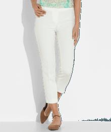 Pantalon femme cigarette jaquard Blanc
