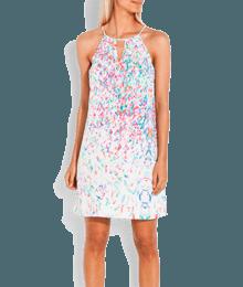 Robe imprimée fines bretelles Blanc