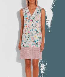 Robe imprimé patchwork Beige-Ecru