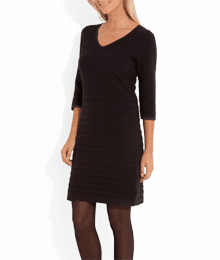 Robe pull maille relief Noir