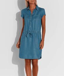 Robe en Tencel manches courtes Bleu