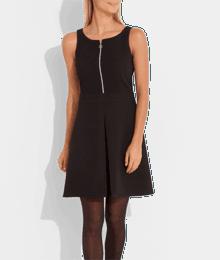 Robe sans manches unie zip encolure Noir