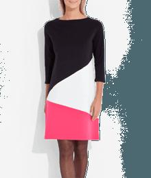 Robe maille milano colorbloc 3 couleurs Noir