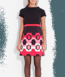 Robe fantaisie imprimé années 60 Noir
