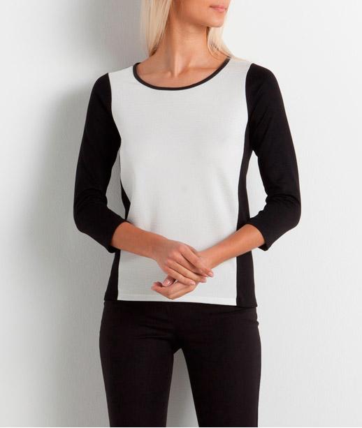 T-shirt femme colorbloc zippé dos (photo)