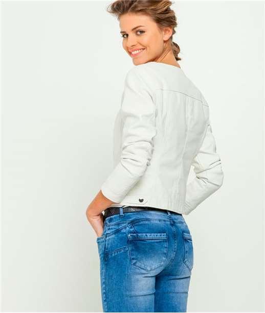 Veste femme aspect cuir lisse couleur BLANC