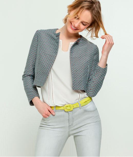 Veste femme courte imprimé cravate BLEU