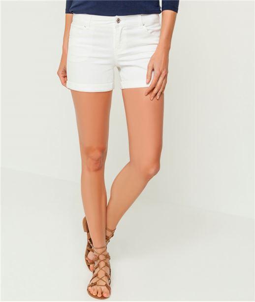 Short femme jeans blanc BLANC