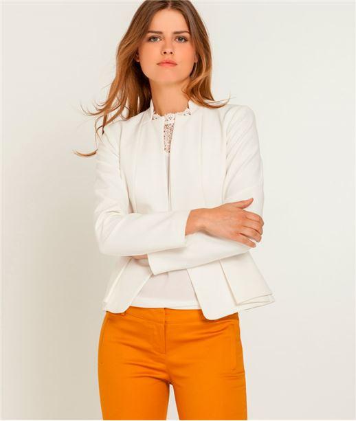 Veste femme tailleur peplum ECRU
