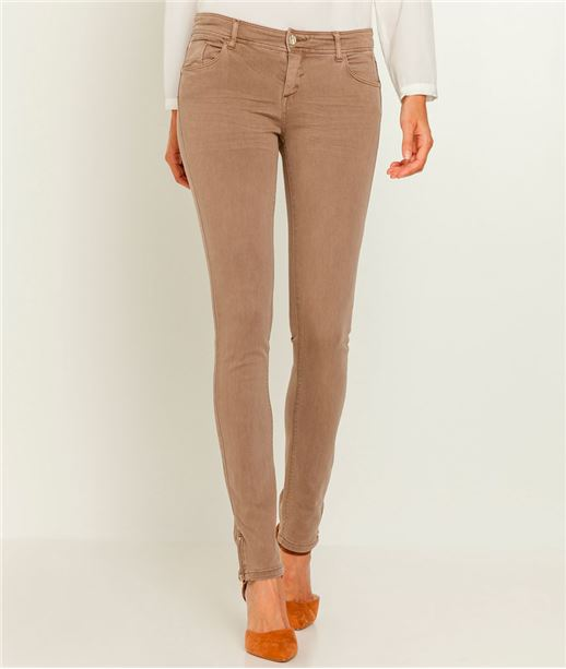 Jean femme skinny push up couleur TAUPE