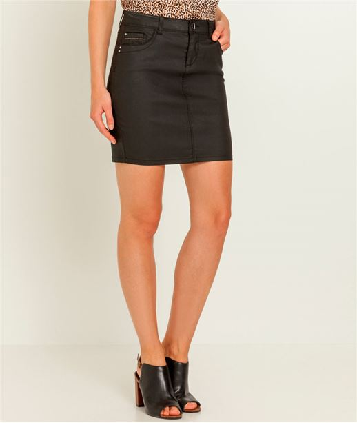 Jupe courte en jean enduit BLACK