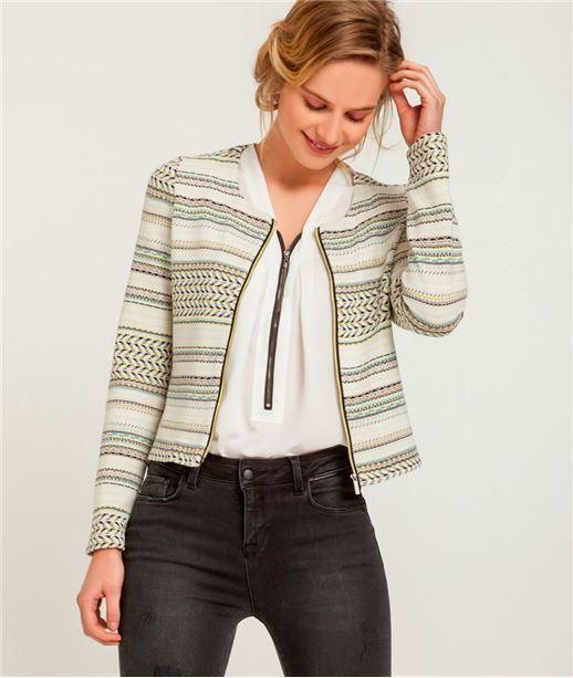 Veste femme jacquard zippée (photo)