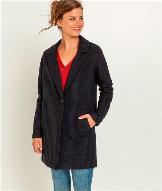 Manteau femme intersaison avec laine MARINE
