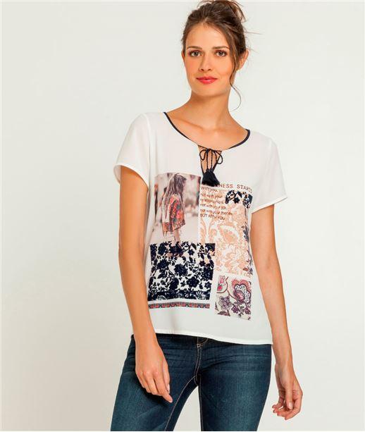 T-shirt femme imprimé dentelle + message ECRU