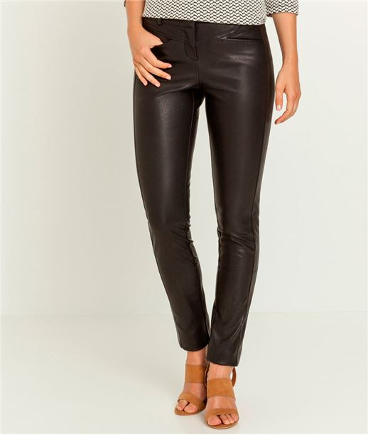 Pantalon femme faux cuir NOIR