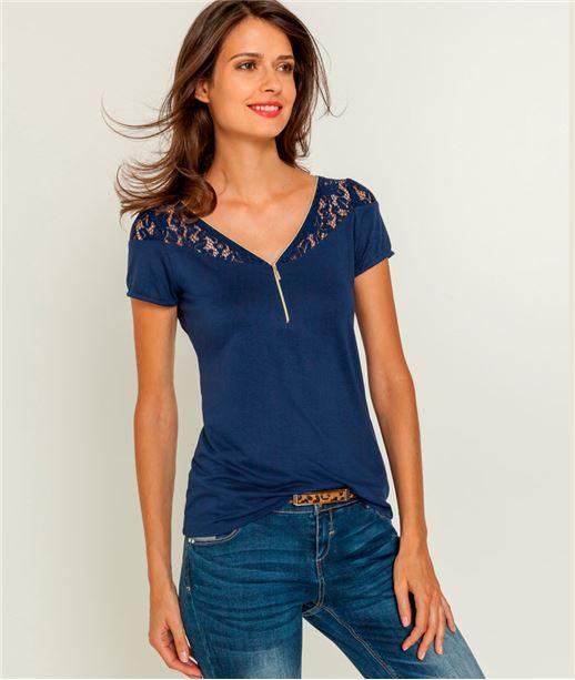 Tshirt femme zip et dentelle BLEU