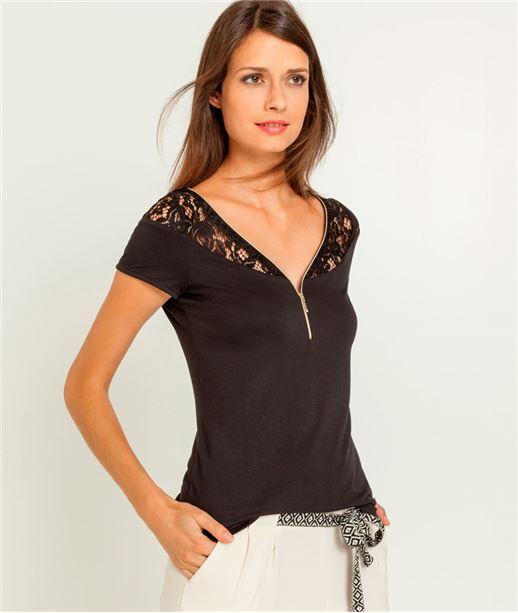 Tshirt femme zip et dentelle NOIR