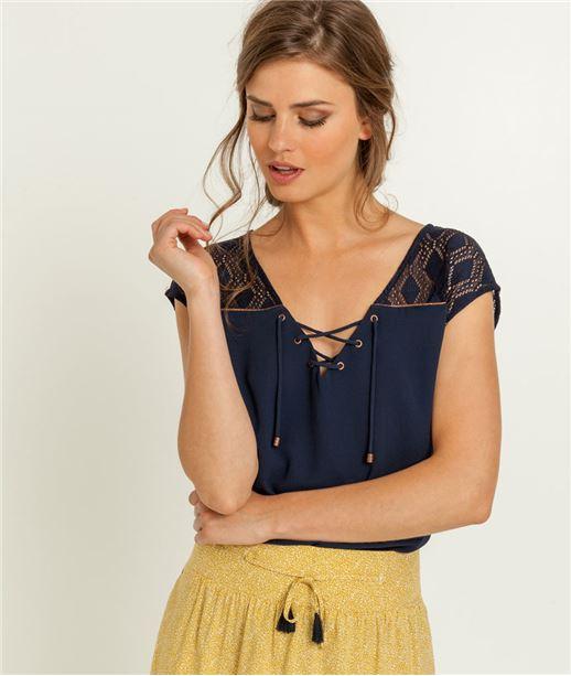 T-shirt femme laçage et dos en dentelle MARINE