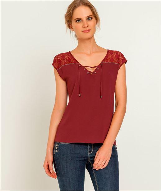 T-shirt femme laçage et dos en dentelle ROUGE CRAMOISI