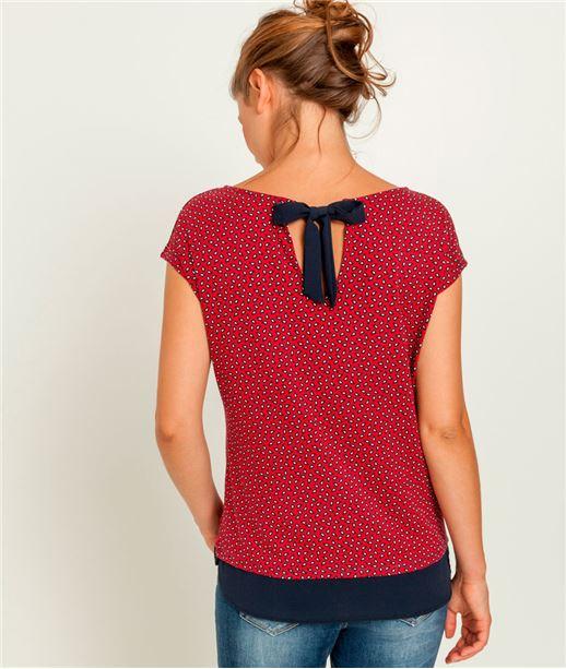 T-shirt femme imprimé dos noué ROUGE