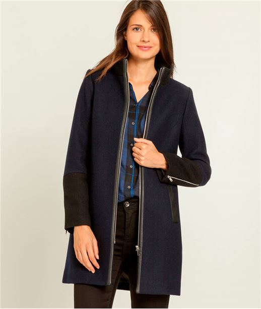 Manteau femme lainage + fermeture zippée MARINE