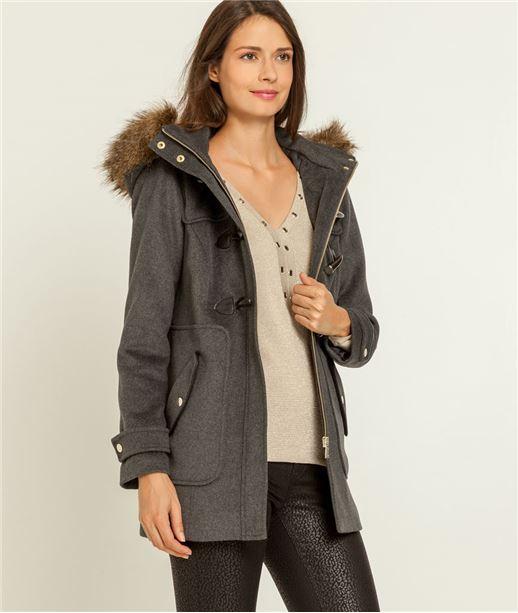 Manteau femme dufflecoat fausse fourrure GRIS