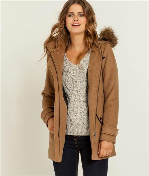 Manteau femme dufflecoat fausse fourrure CAMEL