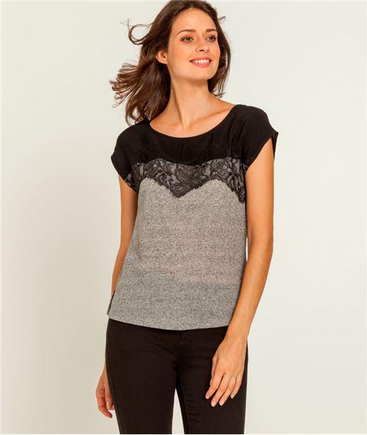 T-shirt femme dentelle GRIS
