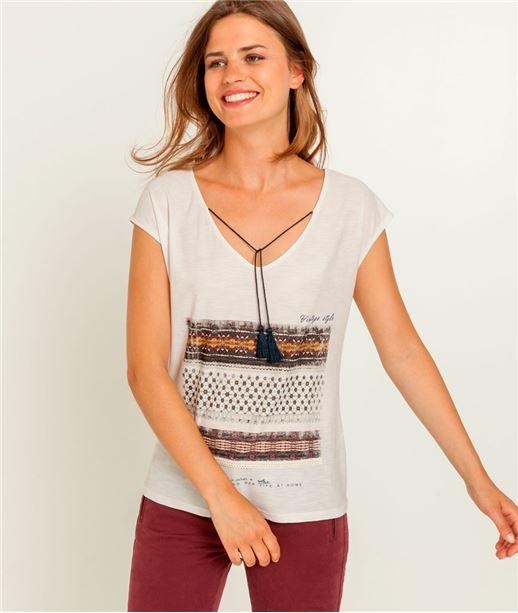 T-shirt femme imprimé ethnique ECRU