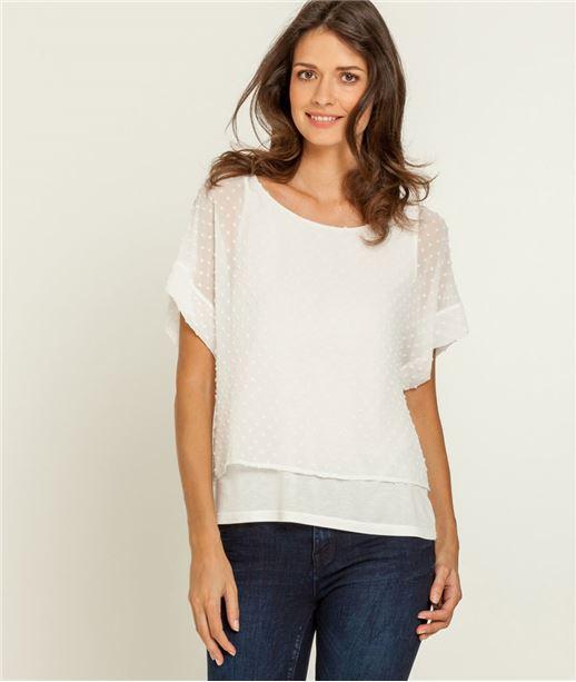T-shirt femme 2 en 1 plumetis ECRU