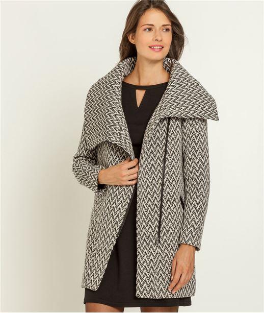 Manteau femme imprimé et large col GRIS