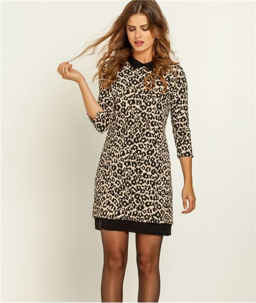 Robe imprimée léopard en maille CAMEL
