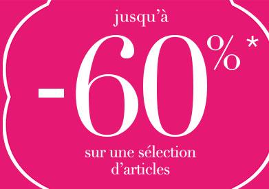 Jusqu'à -60% sur une sélection d'articles jusqu'au 22 décembre 2020